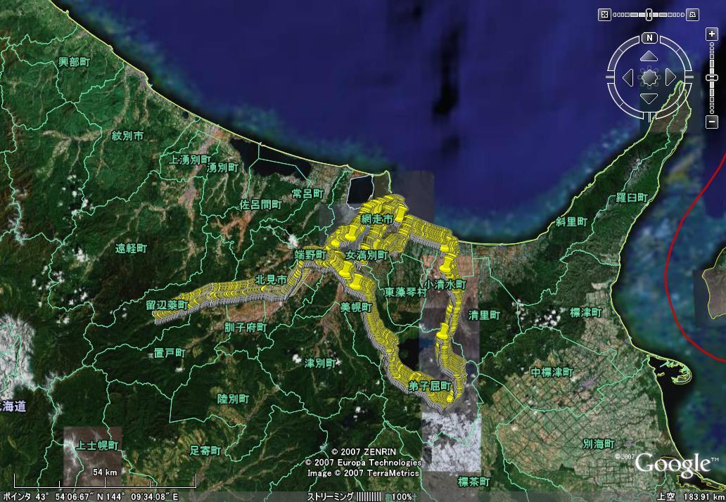 GPS-CS1Kで取得した旅行の行程