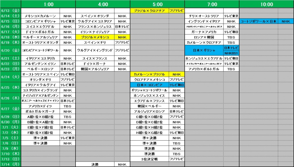 2014年 W杯放送スケジュール