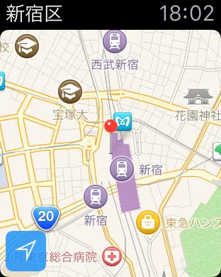 アップルウォッチでのマップ表示例