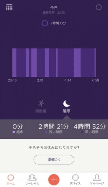 Misfit、睡眠グラフ