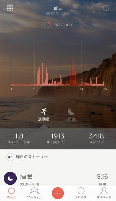 Misfitアプリ、活動量を示すグラフ