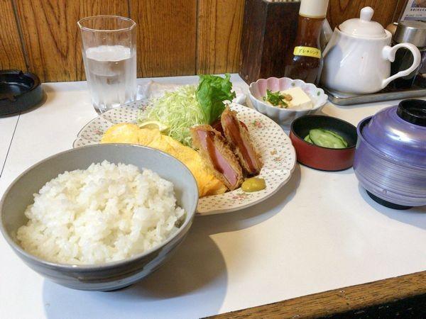 オムレツ・ハムカツ定食